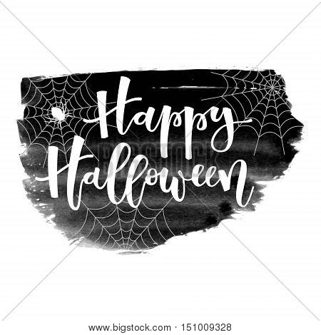 Happy halloween white hand lettering greeting with spider and spiderwebs on black grunge banner background