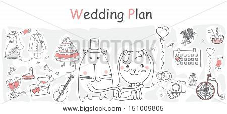 Doodle line design of web banner template  cartoon wedding icons.