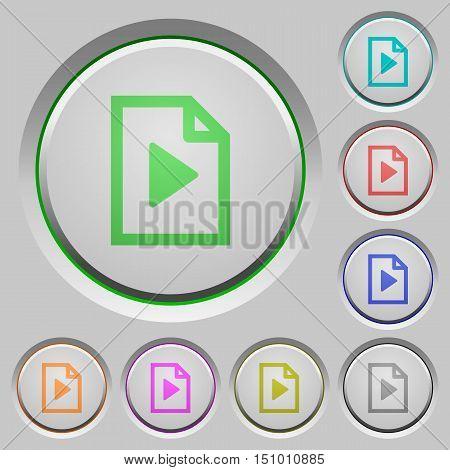 Set of color playlist sunk push buttons.