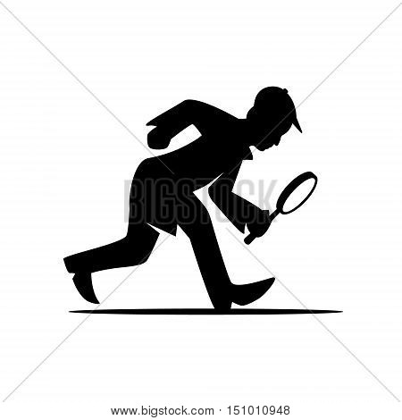 silhouette detective man with magnifying glass search