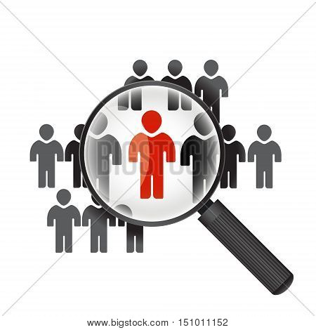 search people magnifier icons men on the background with magnifying glass Search human concept