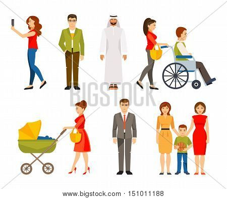 People in different situations. Lifestyle. The concept of a multicultural society