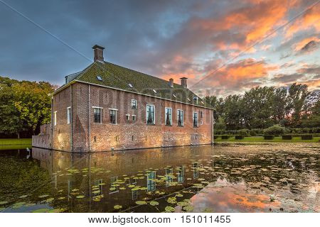 Verhildersum castle or borg was built in the 14th century to defend the area against intruders around Leens Netherlands