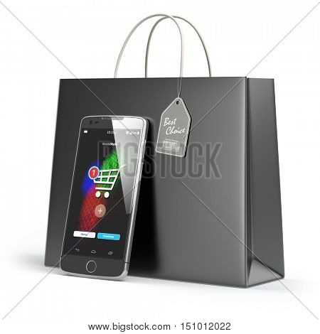 Online shopping concept. Mobile phone or smartphone with shopping paper bag isolated on white. 3d illustration