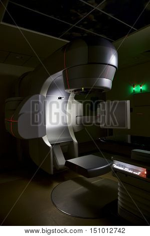 Ultra modern medical x-ray linear accelerator used in oncology.