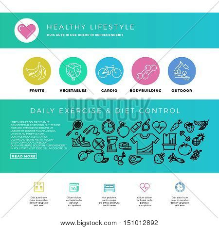 Fitness, gym, cardio, healthy lifestyle, health food, web design template with thin line icons. Bodybuilding and outdoor cardio training. Vector illustration