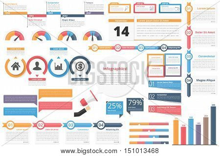 Infographic elements-timeline, process charts, workflow, diagrams, steps, options, indocators, bar graph, vector eps10 illustration