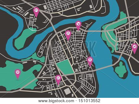 Vector flat abstract city map with pin pointers and infrastructure icons, dark colors, horizontal