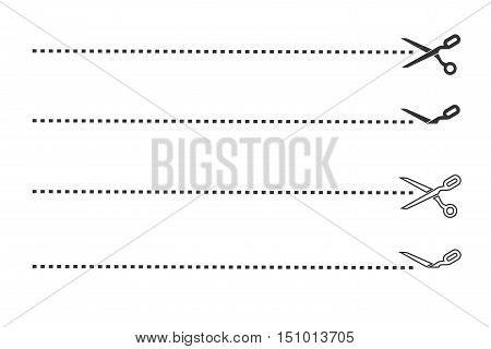 Scissors with dotted cut lines vector symbols, paper cut icons illustration