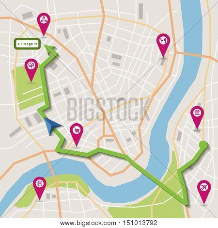 Vector flat abstract city map with pin pointers, navigation route and infrastructure icons