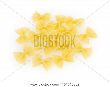 Bow tie pasta isolated on white background with clipping path