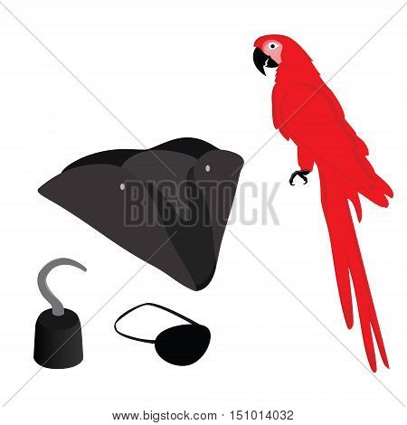Pirate vector icon set with pirate hook pirate hat pirate eye patch and red macaw parrot.