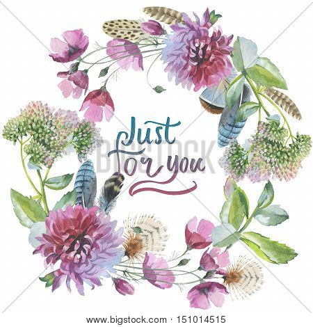 Wildflower chrysanthemum flower wreath in a watercolor style isolated. Aquarelle wild flower could be used for background, texture, wrapper pattern, frame or border.