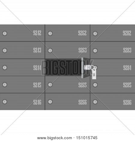 Vector illustration bank deposit boxes with one opened security box and key. Safe deposit box poster