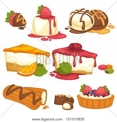 Set of cakes, sweets, icecream deserts with cream and dessert. Cartoon style elements for design. Vector illustrations isolated on white background