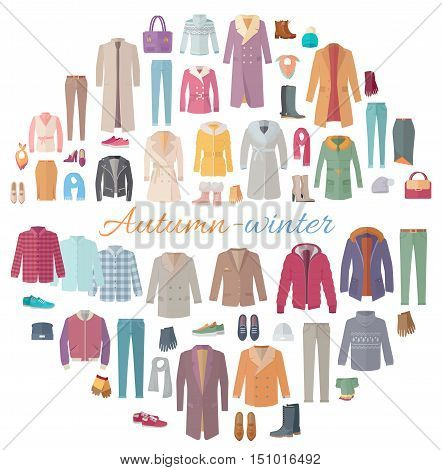 Set of autumn-winter clothes. Vector in flat design. Big collection of various wear and shoes for cold season. Fashion trends. Popular models outerwear. For store, boutique, brand ad. On white