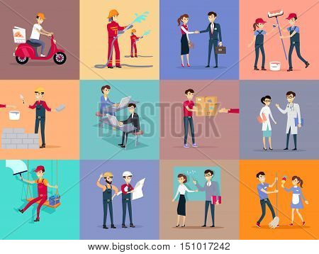 Labor day different professions. Courier deliver pizza on moped. Builder makes brickwork. Teacher teaching knowledge. Doctors treat people. Engineer studying construction project. Vector illustration