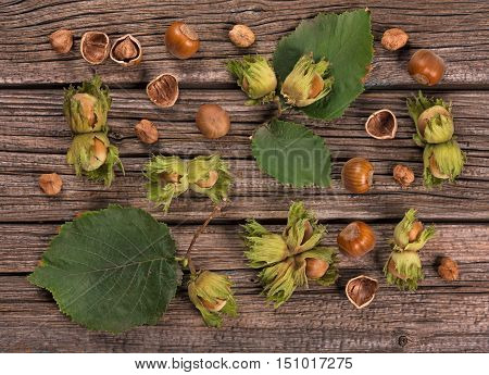 Ripe delicious filberts over old wooden background