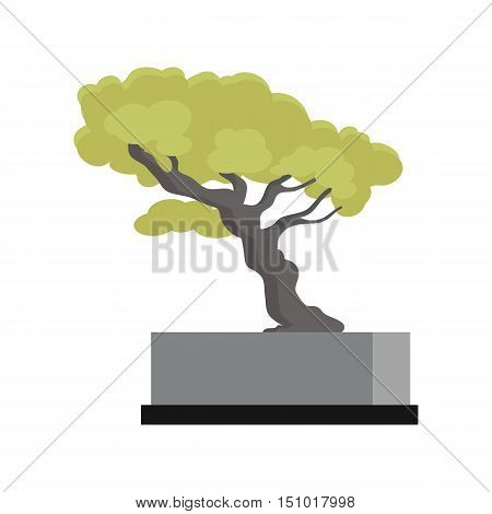 Tree souvenir accessoire. Money Tree icon. Modern office interior element. Memorable present. Table decoration. Currency investment symbol. Earning and trade concept. Tree with green leaves. Vector