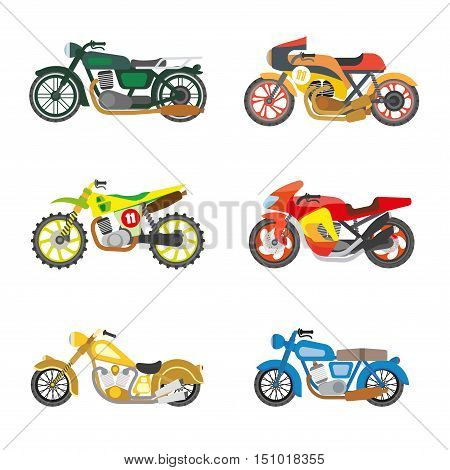 Set of motorcycles. Motorbike, moto transportation and motor vehicle icons. Power and speed sport bikes. Flat style design. Isolated vector illustrations on white background.