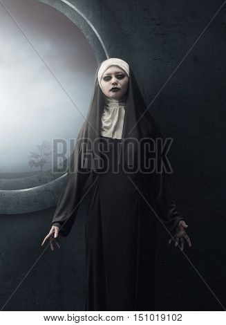 Creepy Asian Woman Nun Standing