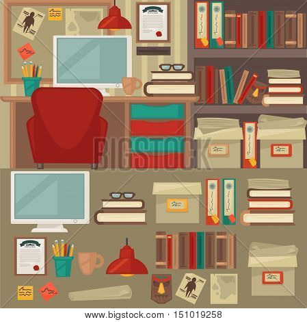 Home and office furniture interiors and objects. Flat icons set: chair, table, lamp and clock, cup and book, monitor and shelf. Isolated vector illustration