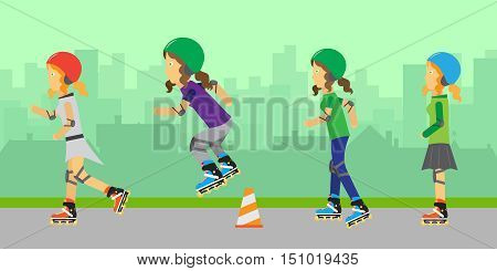 Roller skating girls in protective equipment and helmets jumping over orange traffic cone. Roller skating wearing protective gear. Summer vacation, healthy lifestyle, leisure activities. Urban background