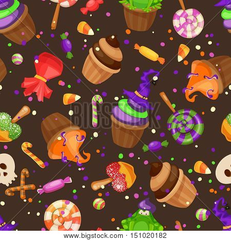 Halloween candy seamless pattern.Muffins, cupcakes, lollipops, corn candies and othe traditional sweets Halloween seamless background. Cartoon style vector illustrtation