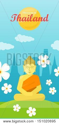 Thailand tourism poster design with buddha on the green grass. Vertical banner. Thailand natural landscape. Thailand landmark. Thailand travel poster design in flat. Travel composition.