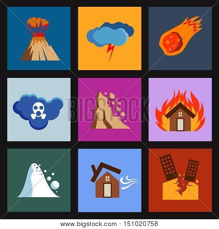 Flat disaster, damage vector icons. Volcano and meteorite, poisonous cloud and rockfall illustration