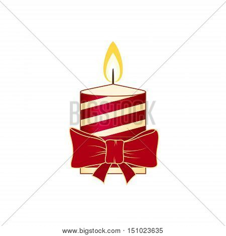 Colorful Christmas Festive Striped Candle Isolated on White Background ,Christmas Decorations, Merry Christmas and Happy New Year, Vector Illustration