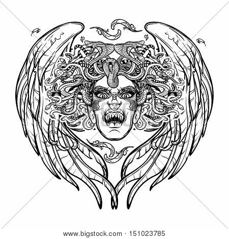 Medusa Gorgon. Ancient Greek mythological creature with face of a woman and snake hair. Folklore, legendary beast. Halloween concept. Hand drawn sketch artwork. EPS10 Isolated vector illustration. poster