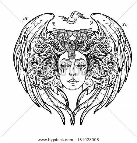 Medusa Gorgon. Ancient Greek mythological creature with face of a woman and snake hair. Folklore, legendary beast. Halloween concept. Hand drawn sketch artwork. EPS10 Isolated vector illustration.