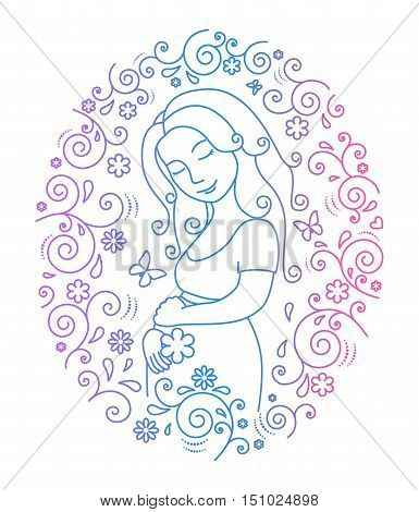 Pregnant woman with flower  in her arms inside round frame with hearts, butterfly and whorls.Vector illustration..Easy to change color.Isolated on white background.