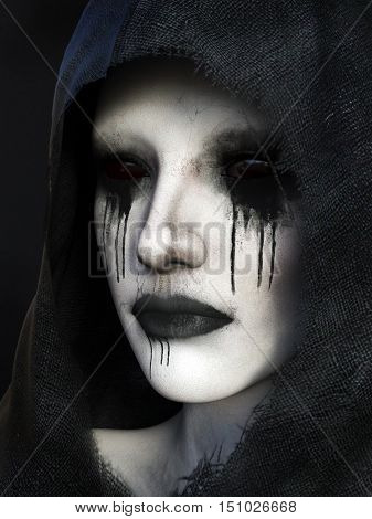 Portrait of demon dressed in a black hood 3D rendering. Black background.