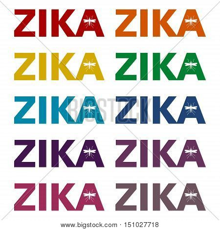 Simple Zika virus icons set on white background