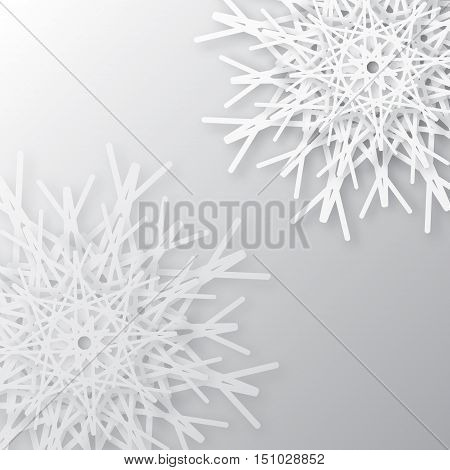 Origami White Snowflake Greeting card. Merry Christmas and Happy New Year background. Vector paper design illustration.