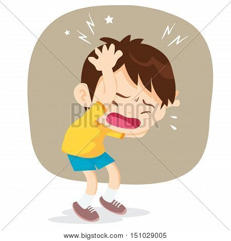 boy have headache.headache pain cartoon vector illustrator.