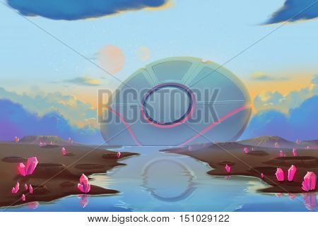 Fantastic and Exotic Allen Planet's Environment: Falling UFO. Video Game's Digital CG Artwork, Concept Illustration, Realistic Cartoon Style Background