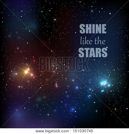 Background with starry sky. Milky Way. Bright colorful shining cosmic vector illustration. Dark nights sky and twinkle stars.