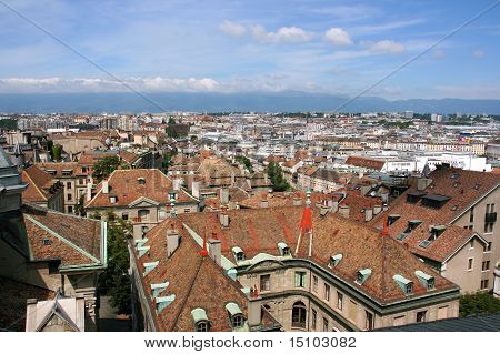 Aerial view of Geneva Switzerland seen from the top of cathedral poster