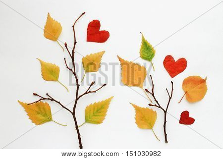 Fall craft background. Composition bare tree branches, various dried leaves. Heart shape cut from foliage. Autumn time.