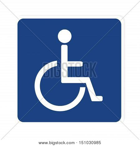 Blue disabled handicap vector icon. Wheelchair. Disabled parking only. Disabled sign