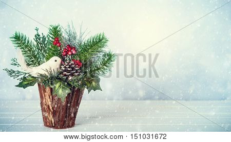 Christmas and New year still life with festive decor on the wooden background. Christmas bunch.