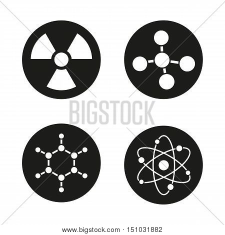 Chemistry and physics icons set. Atom, molecule and radioactive caution symbols. Radiation sign. Science pictograms. Vector white illustrations in black circles