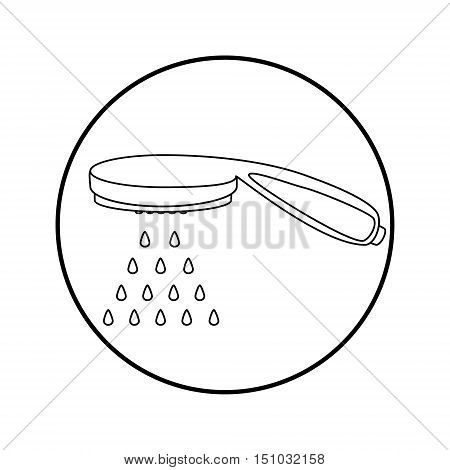 Vector illustration shower spray or head flat icon. Shower head with water drops. Outline drawing
