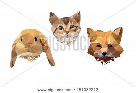 vector illustration animal polygon low poly, animals vector, cute cat. rabbit. fox