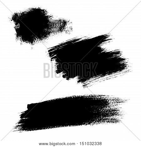 Set of ink brush stroke vector stains. Grunge Paint stripe. Distressed banner . Black isolated paintbrush collection . Modern Textured shape .