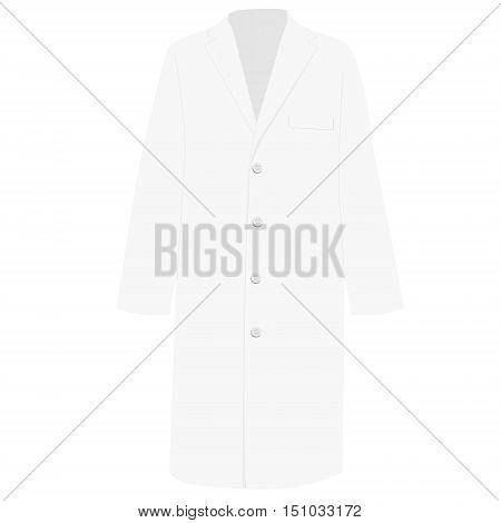 Vector illustration white work clothes model design. Medical uniform rob. Doctor hostpital coat