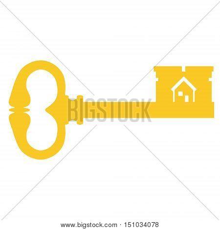 Vector illustration golden old key silhouette. Vintage key. Antique key with house symbol